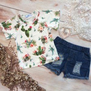Boutique Girls 2pc Cactus & Denim Outfit